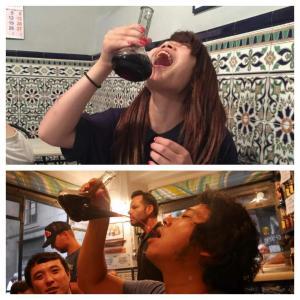 Beber vino en porrón es un arte.