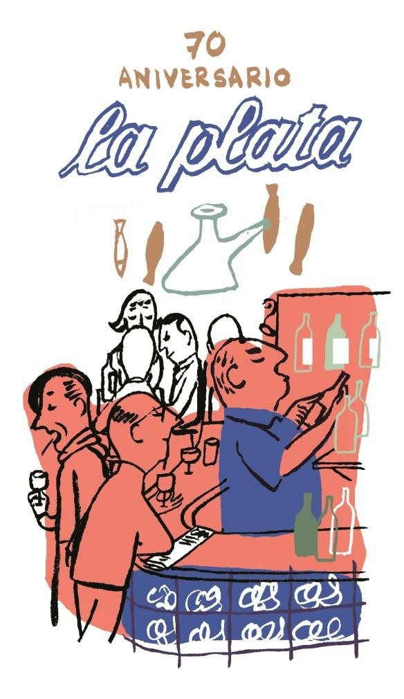 El ilustrador Miguel Gallardo, padre de Makoki, nos manda este fantástico dibujo para conmemorar el 70 aniversario del bar La Plata.