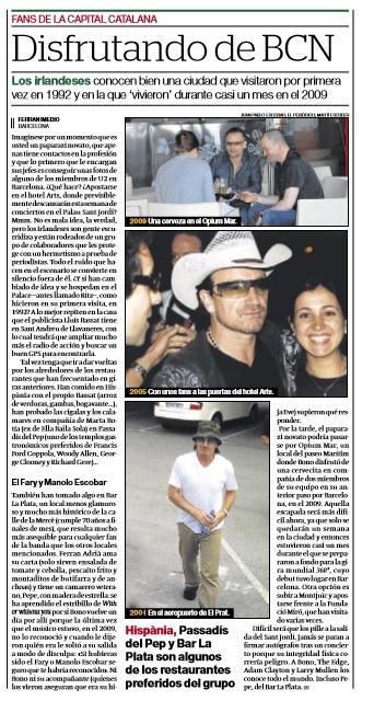 La visita de U2 a La Plata, en El Periódico de Catalunya.