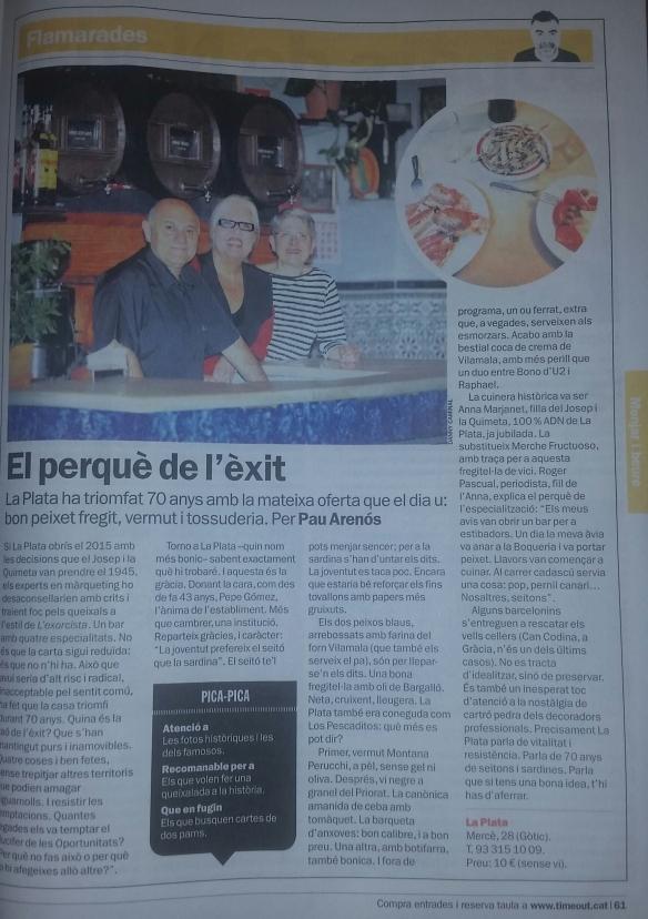 Crítica del bar La Plata de Pau Arenós en El Periódico.