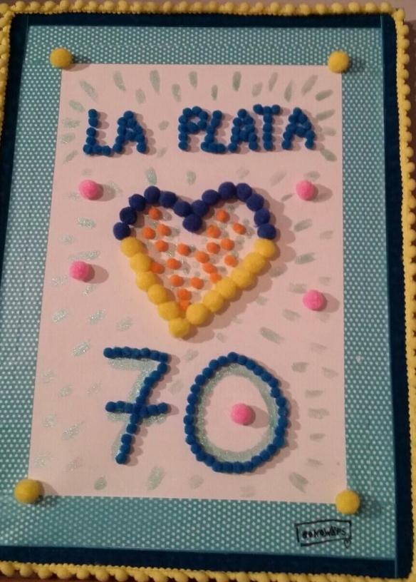 La amorosa obra de arte que nos ha dedicado Isa, una de las adorables clientas del bar La Plata.