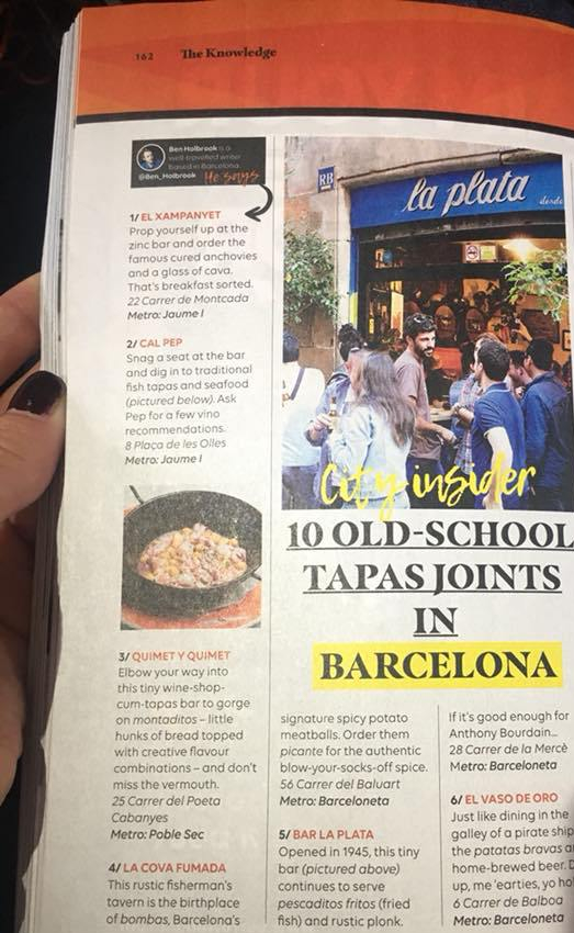 El bar La Plata en la revista Easyjet